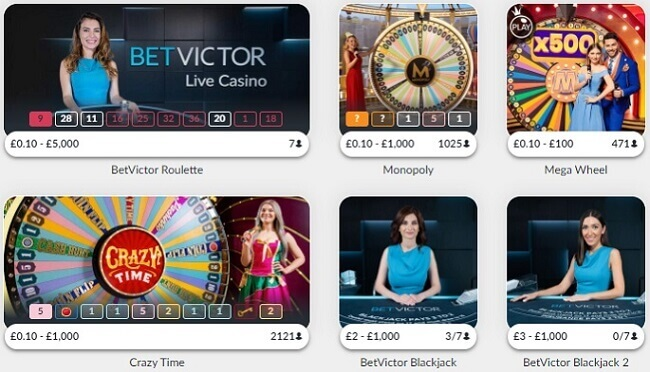 BetVictor Live Casino Games